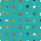 Przypadkowych retro rocznik ikon bezszwowy wzór Zdjęcia Royalty Free