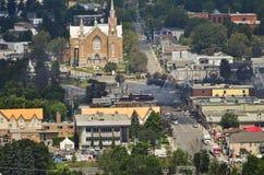 Przypalać resztki Quebec taborowego wykolejenia Lac Megantic Zdjęcia Stock