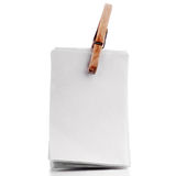 Przypięta pusta notatka, przyczepiający papier, przyczepiający notepad odizolowywający na whit Obrazy Royalty Free