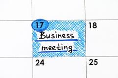 Przypomnienia Biznesowy spotkanie w kalendarzu Zdjęcia Stock