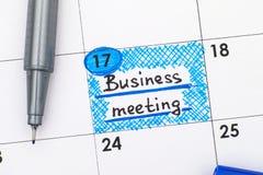 Przypomnienia Biznesowy spotkanie w kalendarzu z piórem Fotografia Stock
