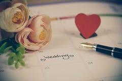 Przypomnienie dzień ślubu w kalendarzowym planowaniu obrazy royalty free