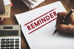 Przypomnienie notatki agendy rozkładu przygotowania pojęcie Zdjęcia Stock