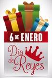 Przypomnienie prezenty dla hiszpańszczyzn Dia De Reyes Świętowanie i data, Wektorowa ilustracja royalty ilustracja