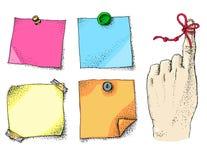 Przypomnienie sznurek na palca i papieru majcherach Zdjęcia Stock
