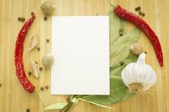 Przyprawiać ustawiam z kopii przestrzeni papierem Zdjęcie Stock