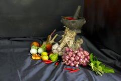 Przyprawowy pojęcie Tajlandzki zielarski składnik, Świezi kulinarni ziele i pikantność na czarnym tkaniny tle z, moździerzem i tł obrazy stock