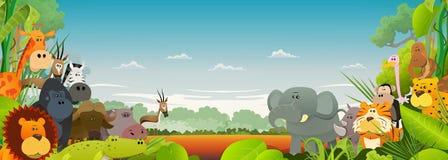 Przyrod zwierząt Afrykański tło royalty ilustracja