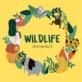 Przyrod zwierząt kreskówki stylu zwierząt szablonu wektor ilustracja wektor