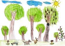 Przyroda, dziecinny rysunek Zdjęcia Royalty Free