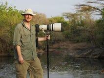 Przyroda fotograf z długim obiektywem na kamerze w Afryka fotografia stock
