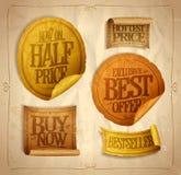 Przyrodni cen savings, gorąca cena, najlepszy oferta, zakup teraz, sprzedaż majchery ilustracja wektor
