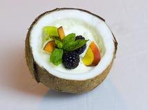 Przyrodni koks z Kremowych i Świeżych owoc sałatki Wciąż życiem obraz royalty free