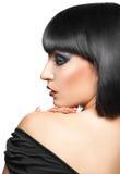 Przyrodni twarz portret młoda brunetka Fotografia Stock
