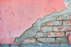 Przyrodnia czerwona cegła i połówka malująca betonowa ściana tło textured Rama dla projekta Zdjęcie Royalty Free