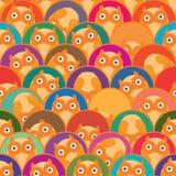 Przyrodnia okrąg sowa jest ja bezszwowy wzór Zdjęcie Stock