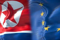 Przyrodnia północnego Korea flaga i przyrodnia Europejska Zrzeszeniowa flaga, kryzysu europ obrazy stock