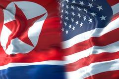 Przyrodnia północnego Korea flaga i połówka jednoczący stany America flaga, cr fotografia stock
