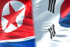 Przyrodnia północnego Korea flaga i przyrodnia południowego Korea flaga, kryzysu stanu di ilustracja wektor