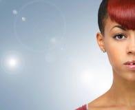 Przyrodnia twarz amerykanina afrykańskiego pochodzenia kobieta Zdjęcia Stock