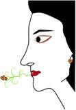 Przyrodnia twarz kobieta z miłością z jej usta Obraz Stock