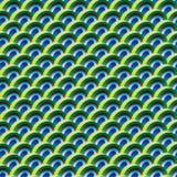 Przyrodniej okręgu 3d koloru pawiej symetrii bezszwowy wzór ilustracji