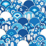 Przyrodniej okrąg sowy błękitny bezszwowy wzór Obrazy Royalty Free