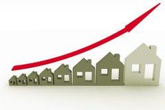 Przyrost w nieruchomości pokazywać na wykresie Zdjęcie Royalty Free