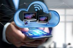 Przyrząda lubią smartphone, pastylkę lub komputer wystawiającymi w chmurze, zdjęcia stock