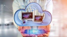 Przyrząda lubią smartphone, pastylkę lub komputer wystawiającymi w chmurze, zdjęcia royalty free