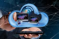 Przyrząda lubią smartphone, pastylkę lub komputer wystawiającymi w chmurze, fotografia royalty free