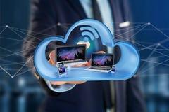 Przyrząda lubią smartphone, pastylkę lub komputer wystawiającymi w chmurze, zdjęcie stock