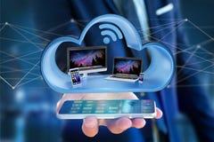 Przyrząda lubią smartphone, pastylkę lub komputer wystawiającymi w chmurze, obrazy royalty free