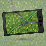 Przyrząd z GPS modułem Smartphone z GPS nawigacją Wektor ja Zdjęcie Stock