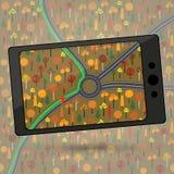 Przyrząd z GPS modułem Smartphone z GPS nawigacją Wektor ja Obraz Royalty Free