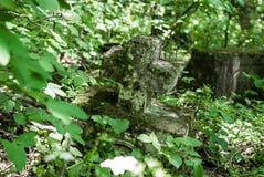 Przyschnięty stary zaniechany cmentarz w drewnach Łamany doniosły monu Zdjęcie Stock