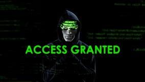Przystępuje użyczającego tekst na ekranie, hackera ładowniczy wirus, kopiowa tajna informacja zdjęcia royalty free