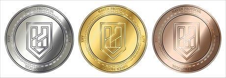 Przystań protokołu XHV monety set ilustracja wektor