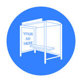 Przystanek autobusowy reklamowa ikona w czerń stylu odizolowywającym na białym tle Reklamowa symbolu zapasu wektoru ilustracja Zdjęcia Stock