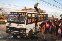 Przystanek autobusowy w Pokhara Zdjęcia Stock