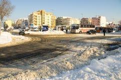 Przystanek Autobusowy w Pomorie, Bułgaria, zima 2017 Obraz Royalty Free