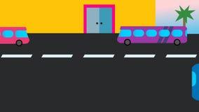 Przystanek autobusowy Wycieczka autobusowa jedzie daleko i inny przyjeżdża ilustracja wektor
