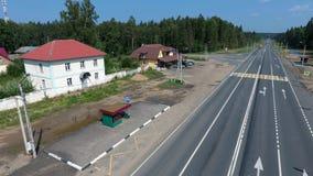 Przystanku autobusowego i drogi widok Obrazy Royalty Free