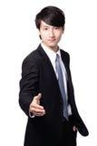 Przystojna biznesowego mężczyzna uśmiechu potrząśnięcia ręka Fotografia Stock
