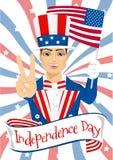 Przystojna mężczyzna odświętność jednoczył stany America dzień niepodległości royalty ilustracja