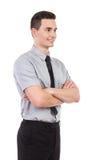 Przystojna mężczyzna pozycja z rękami krzyżować Obrazy Stock