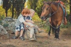 Przystojna Młoda chłopiec z czerwonym włosy i niebieskimi oczami bawić się z jego przyjaciela końskim konikiem w forestHuge miłoś zdjęcia royalty free