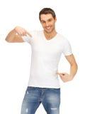 przystojnego mężczyzna koszulowy biel Zdjęcia Royalty Free