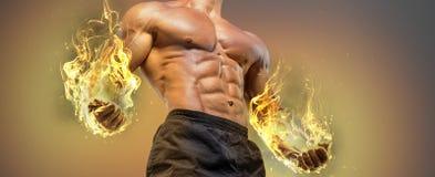 Przystojnej władzy mężczyzna sportowy bodybuilder fotografia royalty free
