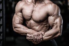 Przystojnej władzy sportowy mężczyzna pompuje up mięśnie na diety szkoleniu Obraz Royalty Free